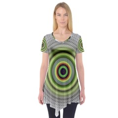 Fractal Mandala White Background Short Sleeve Tunic