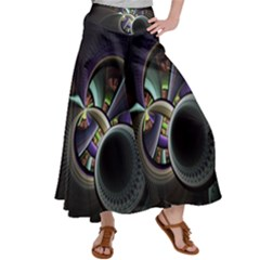Fractal Fractal Art Multi Color Satin Palazzo Pants