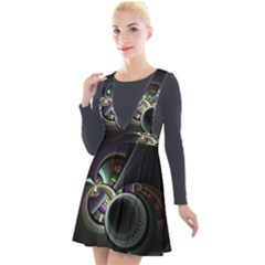 Fractal Fractal Art Multi Color Plunge Pinafore Velour Dress