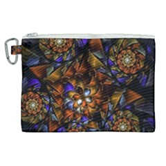 Fractal Spiral Flowers Pattern Canvas Cosmetic Bag (xl)