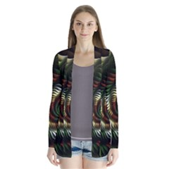 Fractal Christmas Colors Christmas Drape Collar Cardigan by Pakrebo