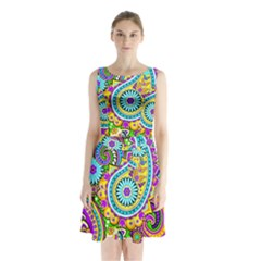 Paisley 5 Sleeveless Waist Tie Chiffon Dress by impacteesstreetwearfive