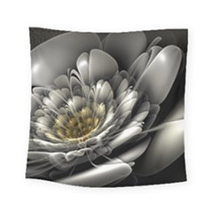 Fractal Silver Flower Bloom Floral Square Tapestry (small)
