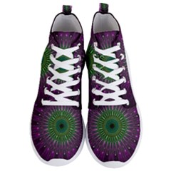 Purple Mandala Fractal Glass Men s Lightweight High Top Sneakers by Pakrebo