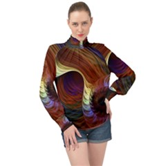 Fractal Colorful Rainbow Flowing High Neck Long Sleeve Chiffon Top by Pakrebo