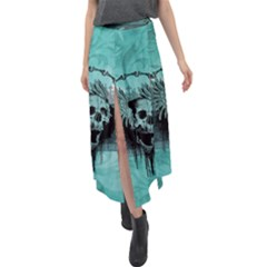 Awesome Skull With Wings Velour Split Maxi Skirt by FantasyWorld7