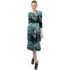 Awesome Skull With Wings Ruffle End Midi Chiffon Dress