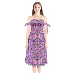 World Wide Blooming Flowers In Colors Beautiful Shoulder Tie Bardot Midi Dress by pepitasart