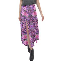 World Wide Blooming Flowers In Colors Beautiful Velour Split Maxi Skirt