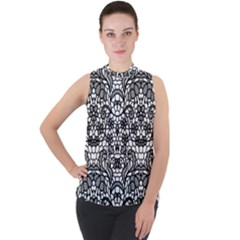 Lace Seamless Pattern With Flowers Mock Neck Chiffon Sleeveless Top by Wmcs91