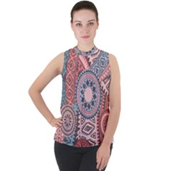 Print Mock Neck Chiffon Sleeveless Top by Wmcs91