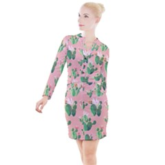 Vintage Plant Seamless Pattern Vectors 06 Button Long Sleeve Dress