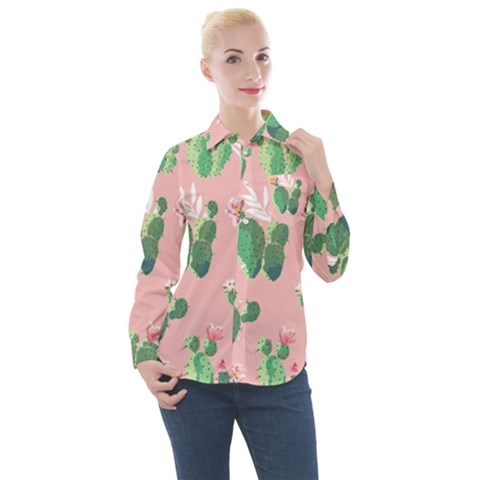 Vintage Plant Seamless Pattern Vectors 06 Women s Long Sleeve Pocket Shirt by Sobalvarro