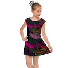 Fractal Abstract Colorful Floral Kids  Cap Sleeve Dress