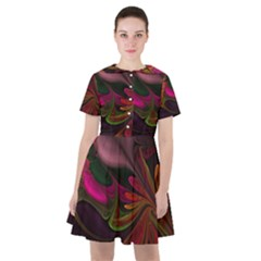 Fractal Abstract Colorful Floral Sailor Dress