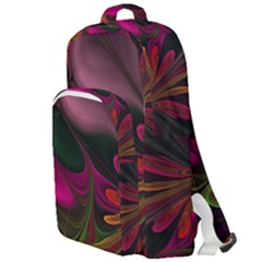Fractal Abstract Colorful Floral Double Compartment Backpack