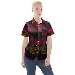 Fractal Abstract Colorful Floral Women s Short Sleeve Pocket Shirt