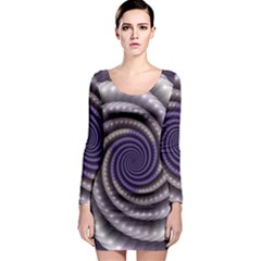 Fractal Strings Pattern Texture Long Sleeve Bodycon Dress