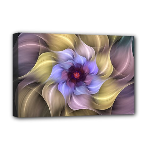 Fractal Flower Petals Colorful Deluxe Canvas 18  X 12  (stretched) by Pakrebo