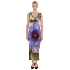 Fractal Flower Petals Colorful Fitted Maxi Dress