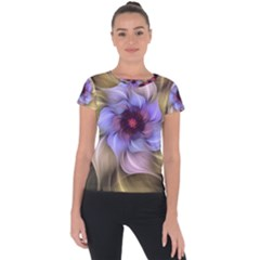 Fractal Flower Petals Colorful Short Sleeve Sports Top  by Pakrebo