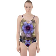 Fractal Flower Petals Colorful Cut Out Top Tankini Set by Pakrebo