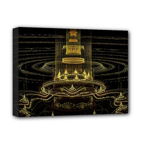 Fractal City Geometry Lights Night Deluxe Canvas 16  X 12  (stretched)  by Pakrebo