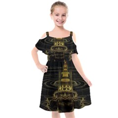 Fractal City Geometry Lights Night Kids  Cut Out Shoulders Chiffon Dress