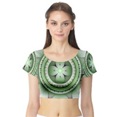 Fractal Mandala Green Purple Short Sleeve Crop Top