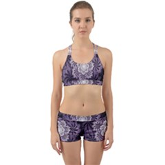 Fractal Floral Striped Lavender Back Web Gym Set