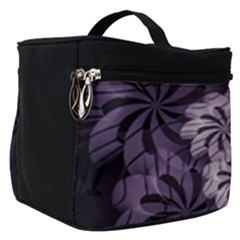 Fractal Floral Striped Lavender Make Up Travel Bag (small)