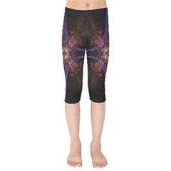 Fractal Cross Blue Geometric Kids  Capri Leggings