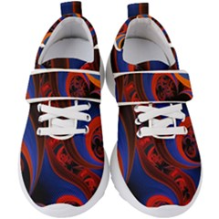 Fractal Abstract Pattern Circles Kids  Velcro Strap Shoes