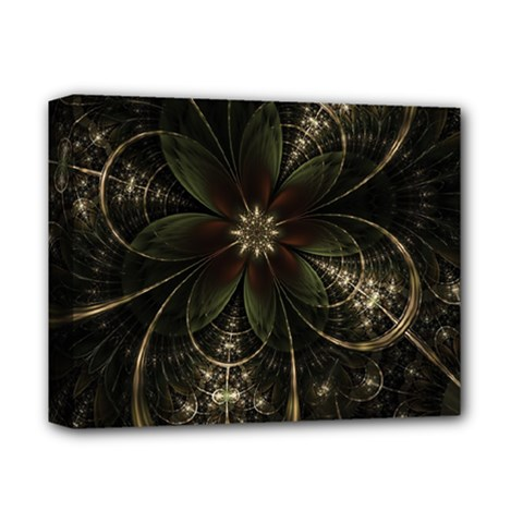 Fractal Gold Green Flower Bloom Deluxe Canvas 14  X 11  (stretched) by Pakrebo