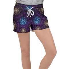 Geometry Fractal Colorful Geometric Women s Velour Lounge Shorts