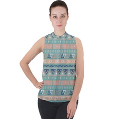 Tribal Mock Neck Chiffon Sleeveless Top by Wmcs91
