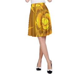 Fractal Yellow Flower Floral A Line Skirt by Pakrebo