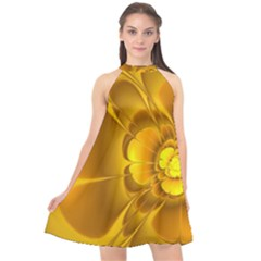 Fractal Yellow Flower Floral Halter Neckline Chiffon Dress
