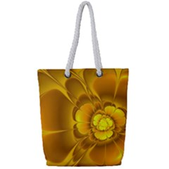 Fractal Yellow Flower Floral Full Print Rope Handle Tote (small)