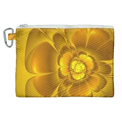 Fractal Yellow Flower Floral Canvas Cosmetic Bag (xl) by Pakrebo