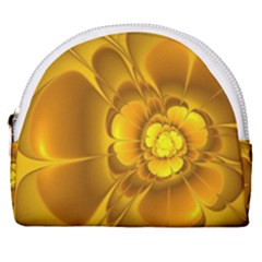 Fractal Yellow Flower Floral Horseshoe Style Canvas Pouch