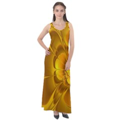 Fractal Yellow Flower Floral Sleeveless Velour Maxi Dress
