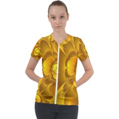 Fractal Yellow Flower Floral Short Sleeve Zip Up Jacket