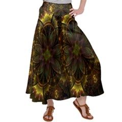 Fractal Flower Fall Gold Colorful Satin Palazzo Pants by Pakrebo