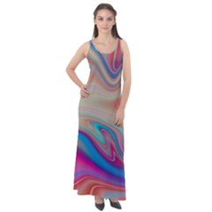 Multi Color Liquid Background Sleeveless Velour Maxi Dress