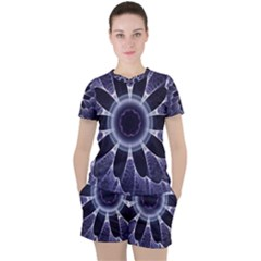 Fractal Feathers Blue Purple Women s Tee And Shorts Set