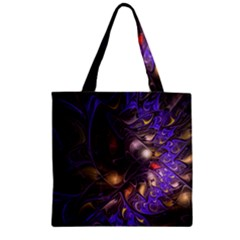 Fractal Purple Abstract Detail Zipper Grocery Tote Bag