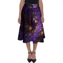 Fractal Purple Abstract Detail Perfect Length Midi Skirt