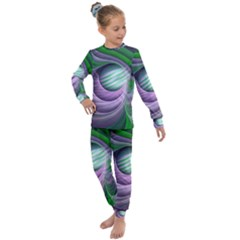 Purple Green Fractal Texture Kids  Long Sleeve Set  by Pakrebo