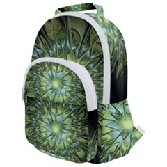 Fractal Green Gold Glowing Rounded Multi Pocket Backpack